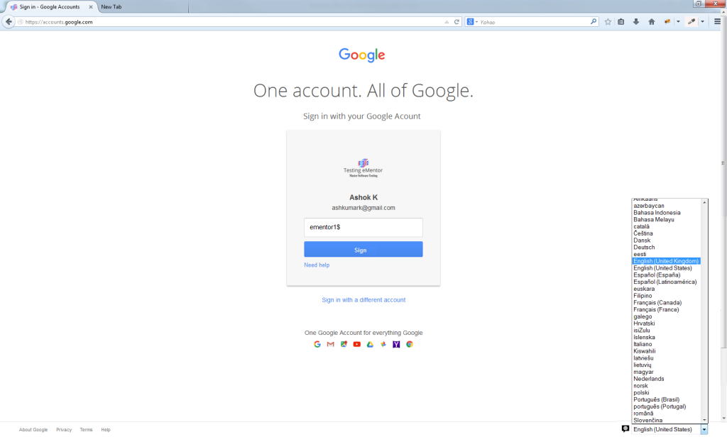 Software-Testing-Exercises-Google Account